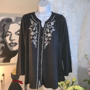 J Jill Embroidered cotton blouse